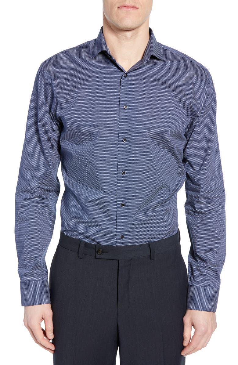 1901 Trim Fit Dot Dress Shirt, Main, color, NAVY DRESS