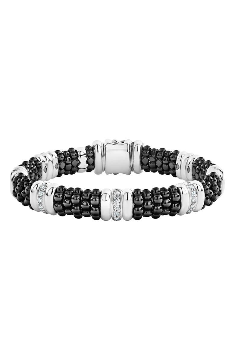 LAGOS LAOGS Black Caviar Diamond 7-Link Bracelet, Main, color, 040