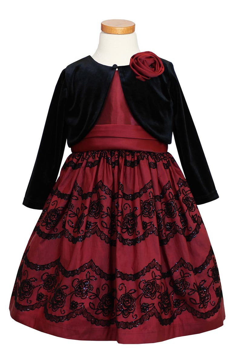 SORBET Taffeta Dress & Velvet Bolero, Main, color, 600