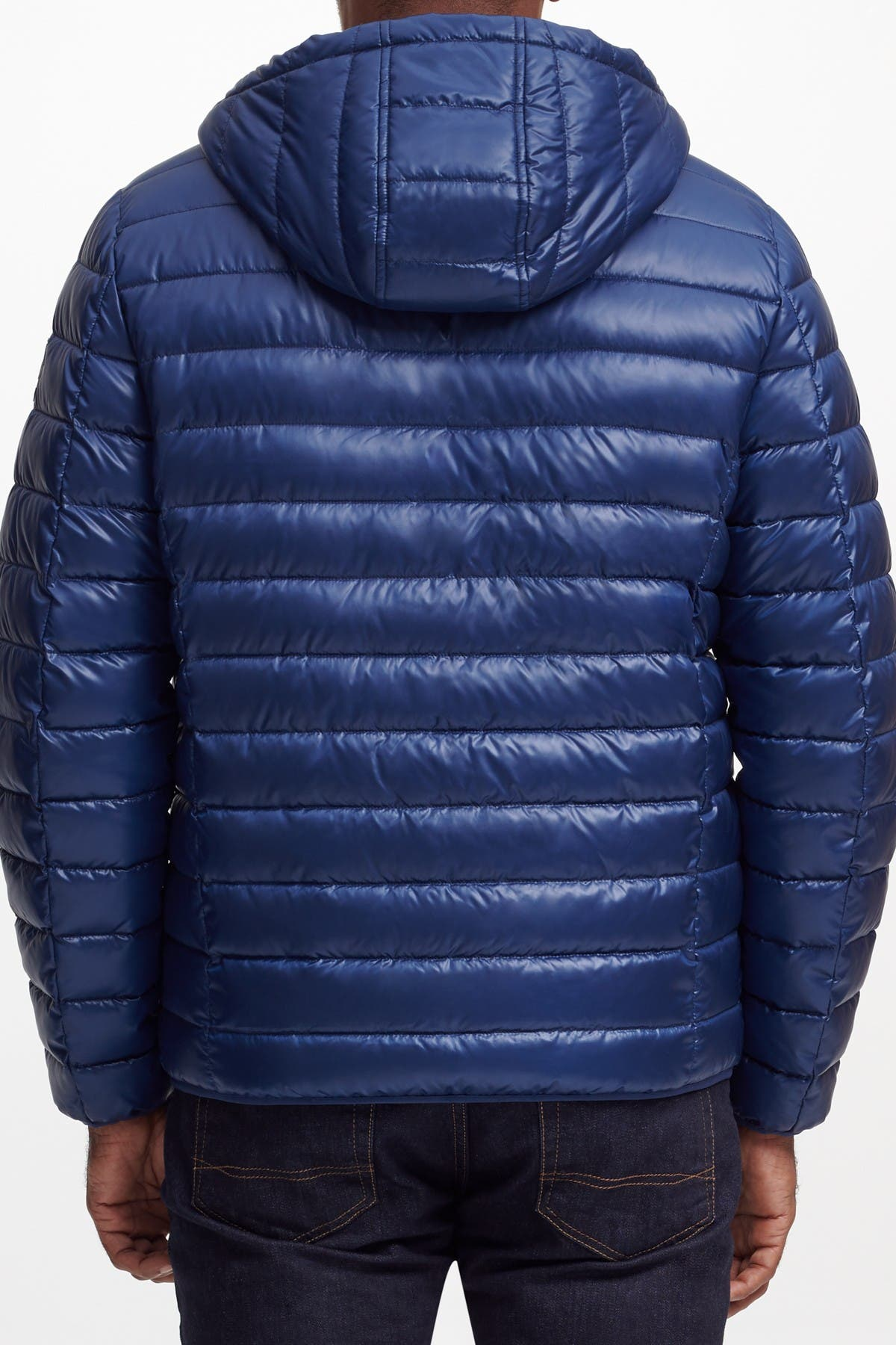 Image of KENNETH COLE Hooded Midweight Quilted Zip Jacket