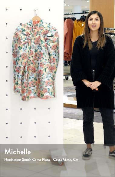 Kim Floral Jacquard Long Puff Sleeve Minidress, sales video thumbnail