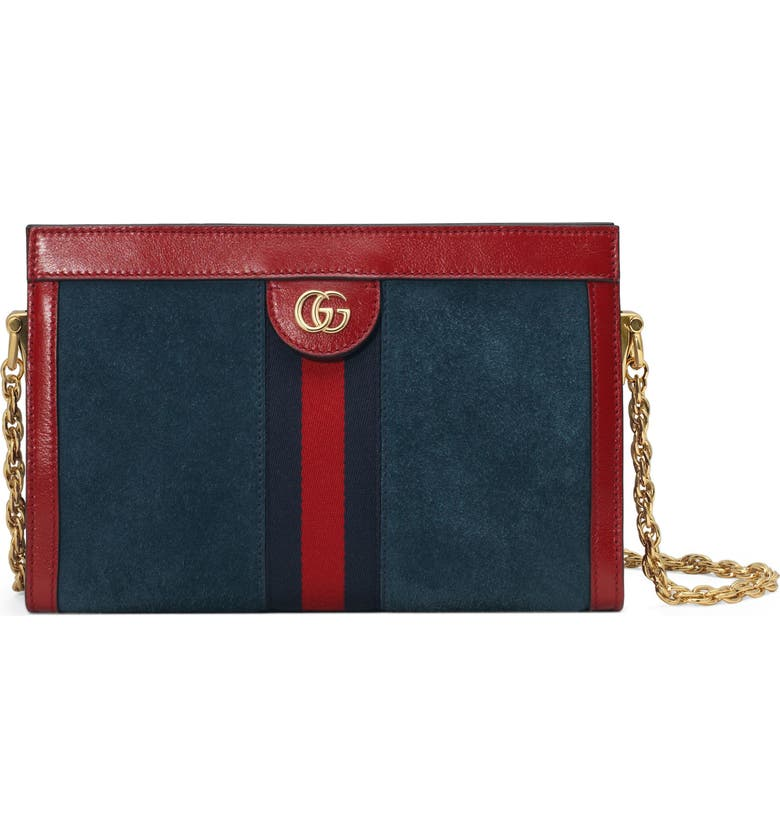 GUCCI Small Ophidia Suede Shoulder Bag, Main, color, NEW BLUE/ CERISE/ BLUE RED