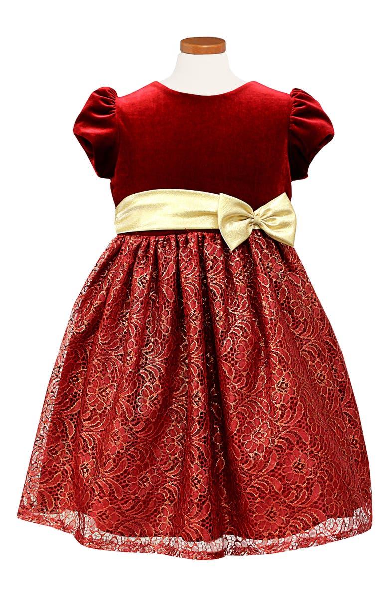 SORBET Velvet & Lace Dress, Main, color, 600