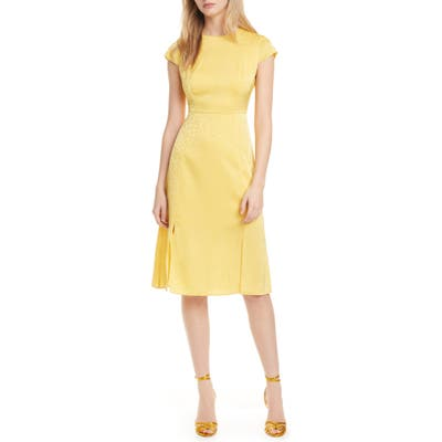 Ted Baker London Leopard Jacquard Dress, (fits like 12 US) - Yellow