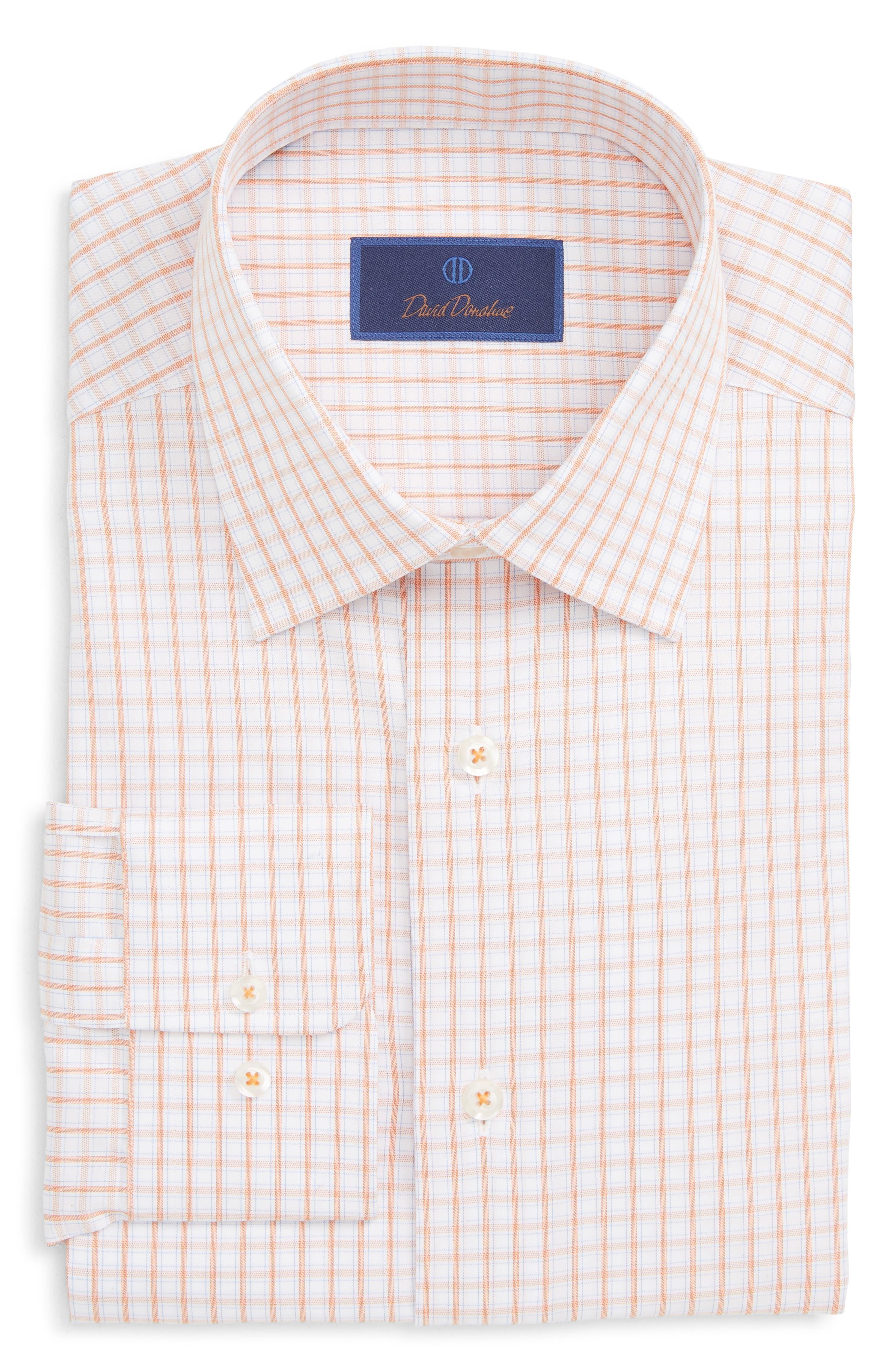 Regular Fit Plaid Dress Shirt, Main, color, MELON