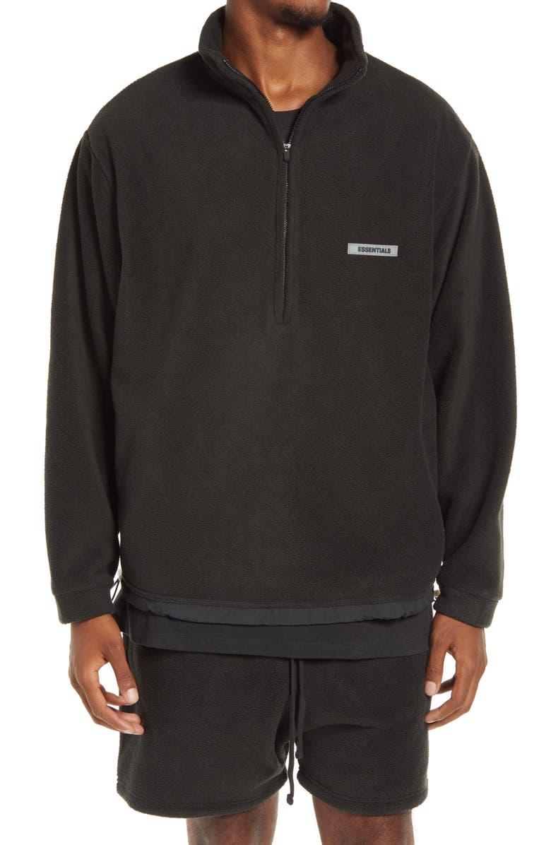 FEAR OF GOD ESSENTIALS Half Zip Fleece Pullover, Main, color, 001