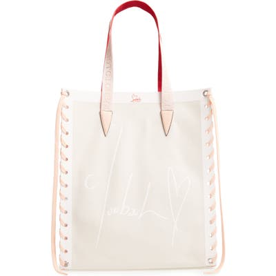 Christian Louboutin Small Cabalace Canvas & Leather Tote - Beige
