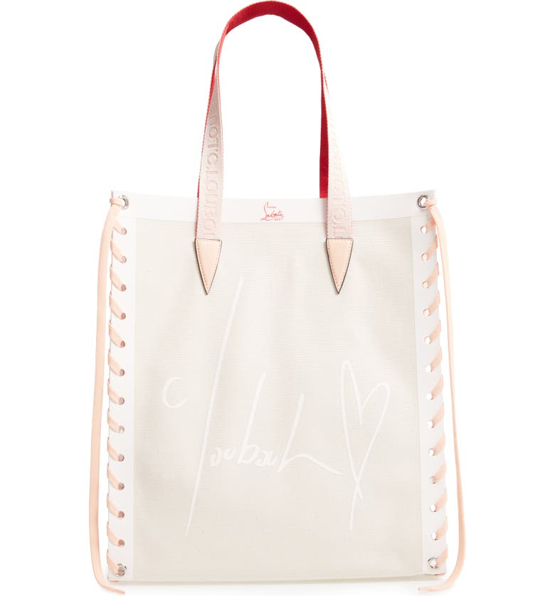 CHRISTIAN LOUBOUTIN Small Cabalace Canvas & Leather Tote, Main, color, NATUREL/ ANTOINETTE
