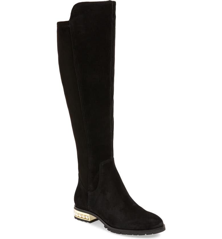 KARL LAGERFELD PARIS Sutton Over the Knee Boot, Main, color, BLACK SUEDE