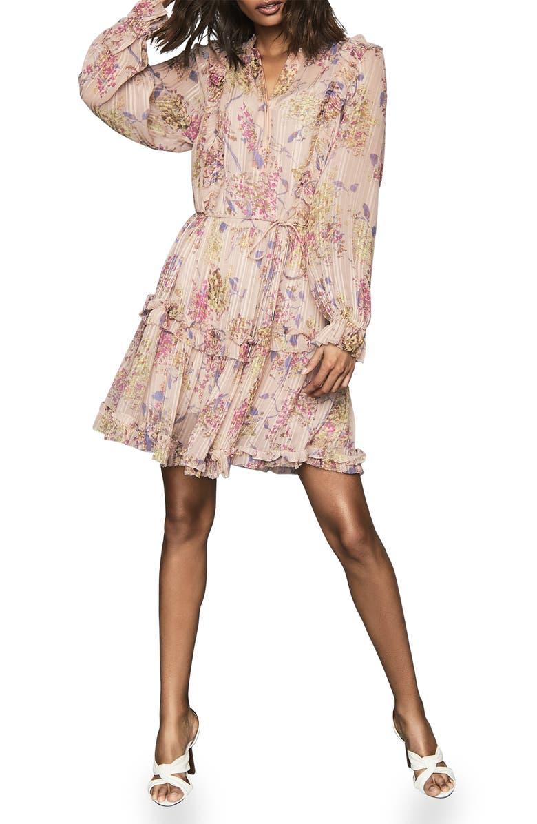 REISS Cari Print Long Sleeve Minidress, Main, color, PINK BASE FLORAL