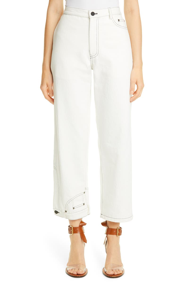 MONSE High Waist Crop Wide Leg Jeans, Main, color, WHITE