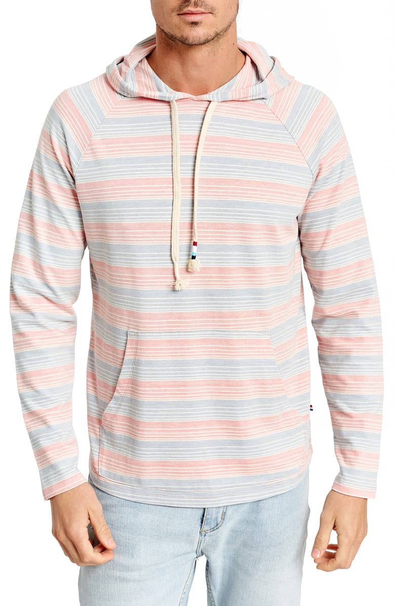 SOL ANGELES Stripe Twill Pullover Hoodie, Main, color, PINK/ BLUE