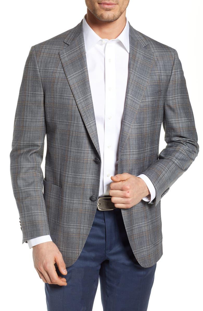 Peter Millar Hyperlight Classic Fit Plaid Wool Blend Sport Coat