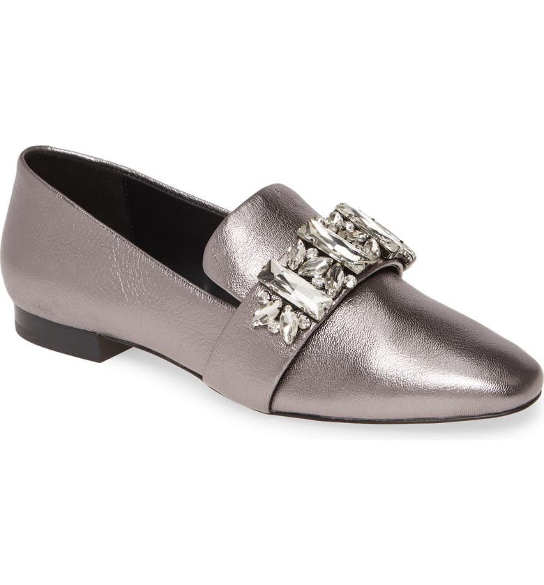 KARL LAGERFELD PARIS Nyra Crystal Strap Loafer, Main, color, SILVER LEATHER