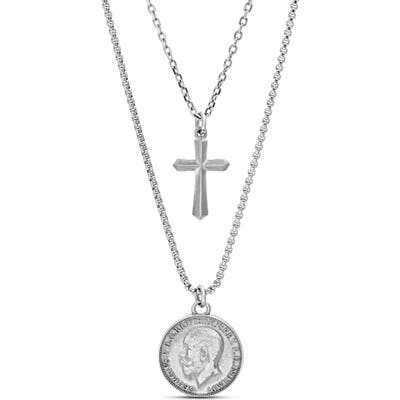 Steve Madden Coin & Cross Double Pendant Necklace