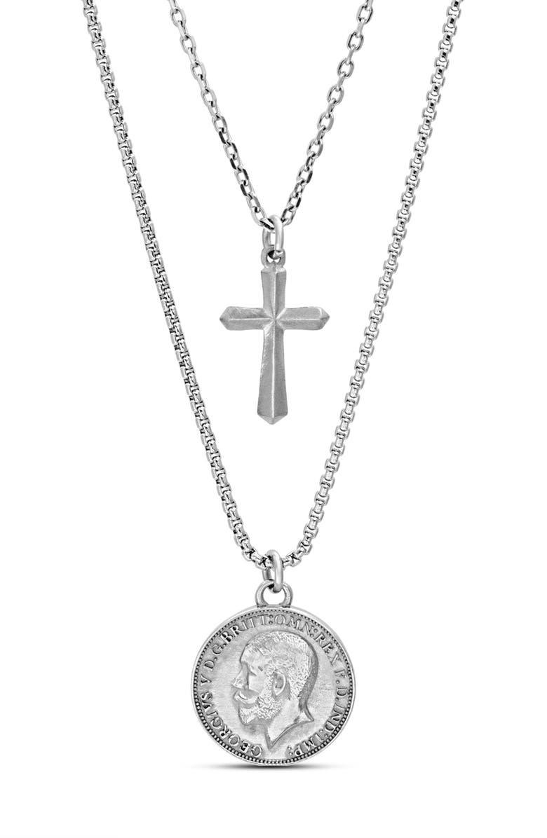 STEVE MADDEN Coin & Cross Double Pendant Necklace, Main, color, METALLIC SILVER
