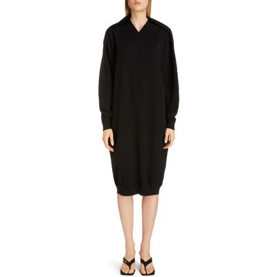 Balenciaga Logo Embroidered Pinched Long Sleeve Wool Blend Sweater Dress, Black