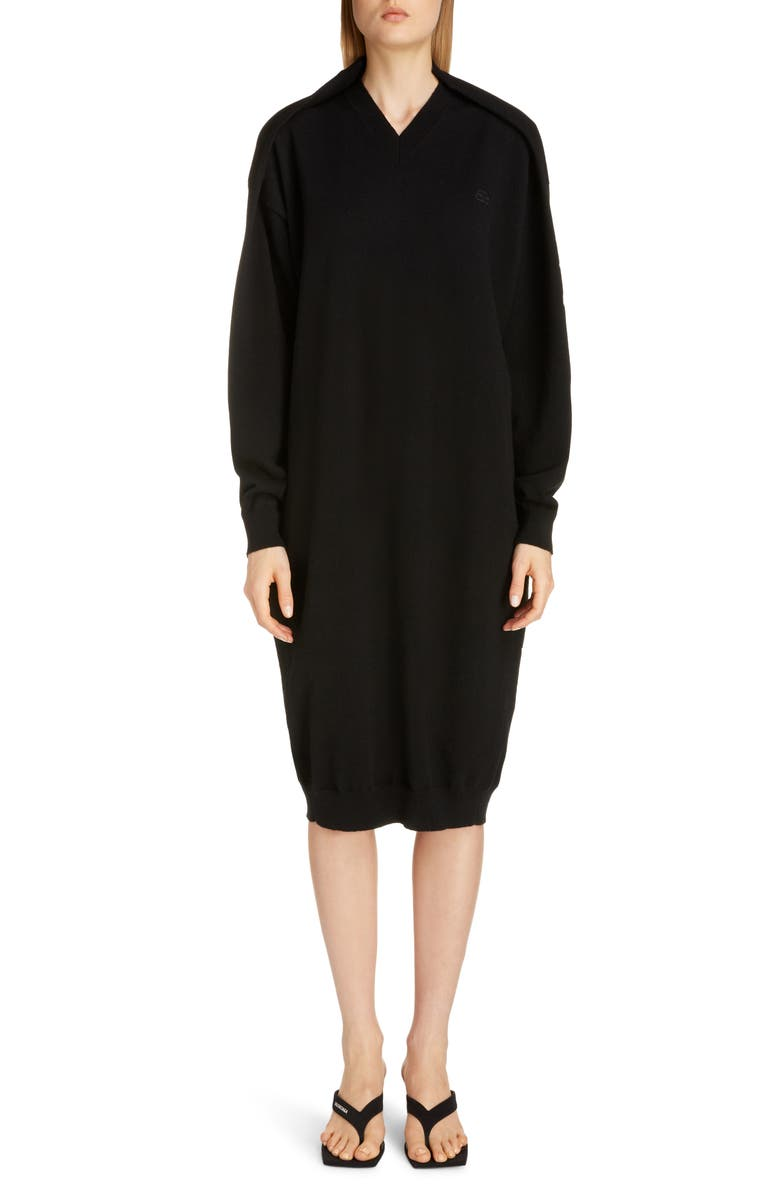 BALENCIAGA Logo Embroidered Pinched Long Sleeve Wool Blend Sweater Dress, Main, color, BLACK