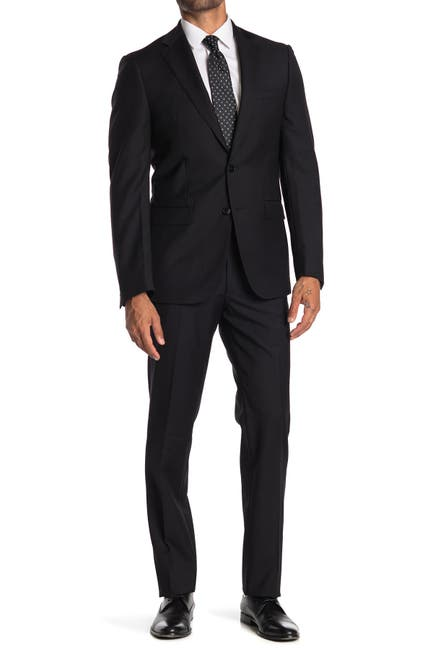 Image of Calvin Klein Solid Black Wool Two Button Notch Lapel Suit