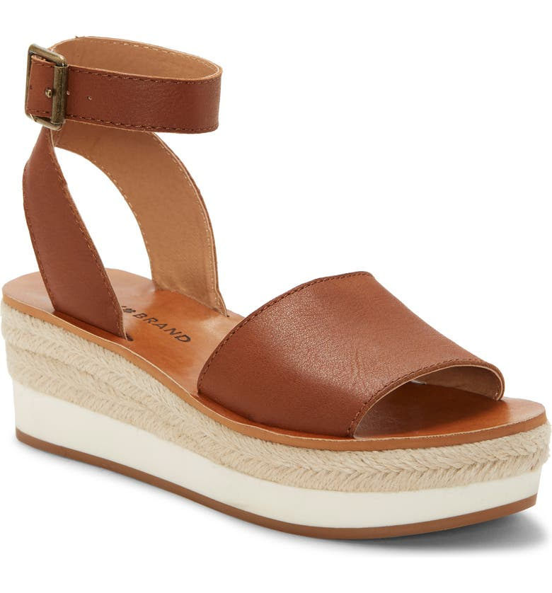 LUCKY BRAND Joodith Platform Wedge Sandal, Main, color, UMBER LEATHER