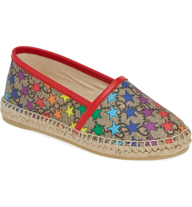 GUCCI Espadrille, Main, color, BEIGE/ BLUE MULTI