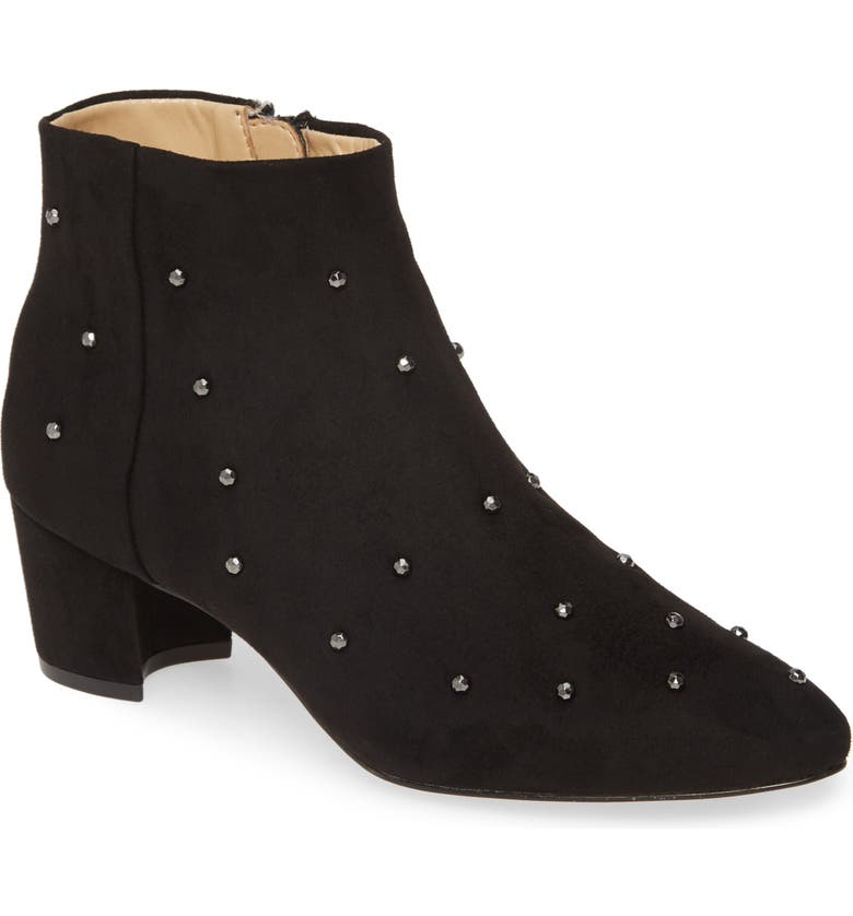 KATY PERRY The Aurora Embellished Bootie, Main, color, BLACK FAUX LEATHER