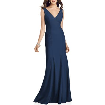Dessy Collection Crepe Trumpet Gown, Blue