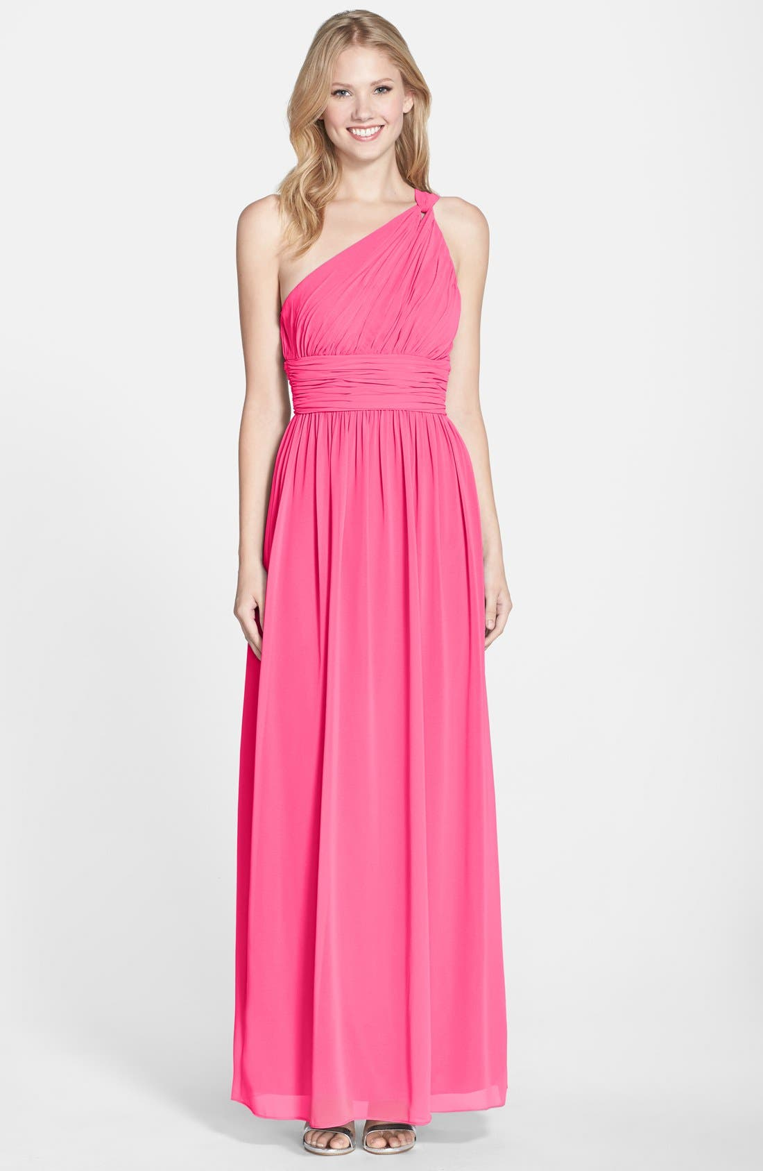 ,                             'Rachel' Ruched One-Shoulder Chiffon Gown,                             Main thumbnail 110, color,                             653
