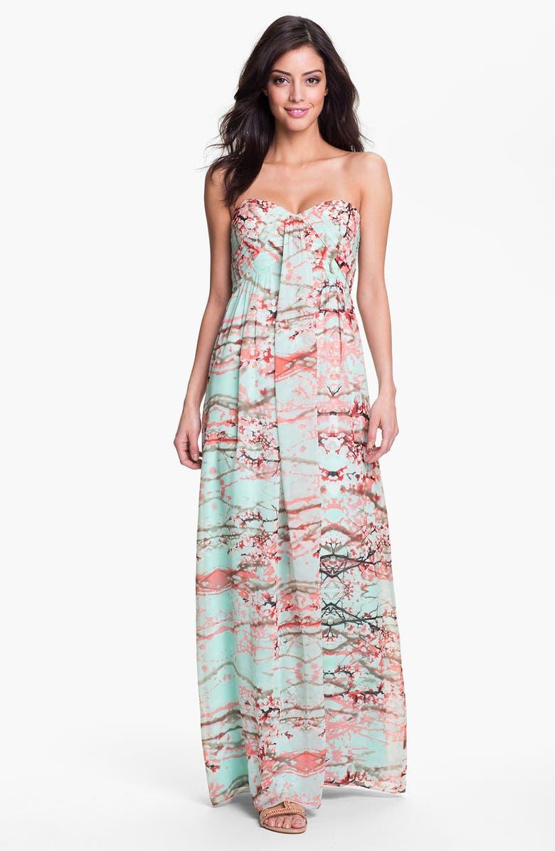 JESSICA SIMPSON Strapless Print Maxi Dress, Main, color, 440