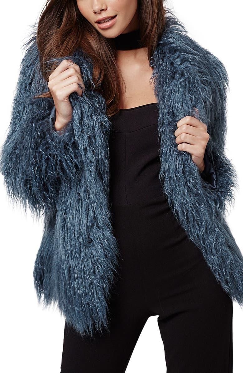 TOPSHOP KENDALL + KYLIE at Topshop Faux Fur Coat, Main, color, 400