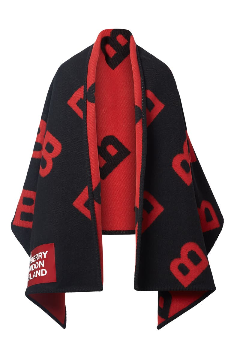 BURBERRY Logo Reversible Wool & Cashmere Blanket Cape, Main, color, BLACK/ BRIGHT RED