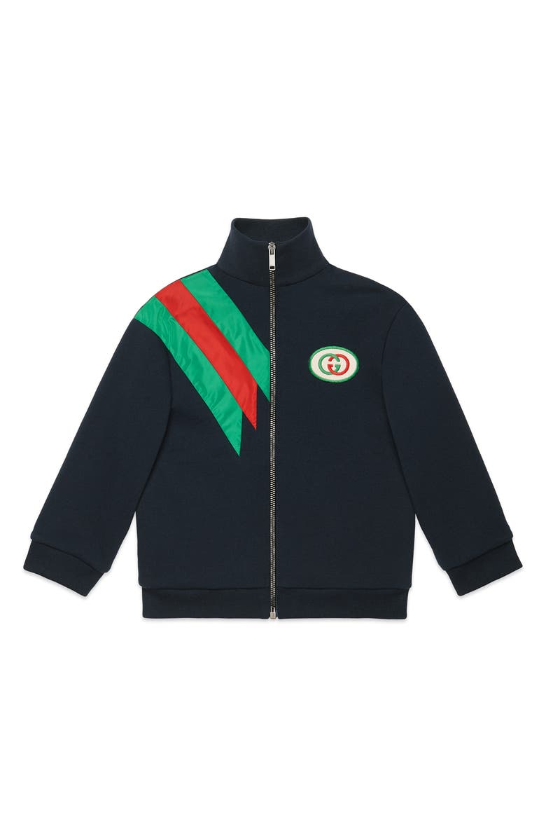 GUCCI Logo Patch Zip Jacket, Main, color, URBAN BLUE