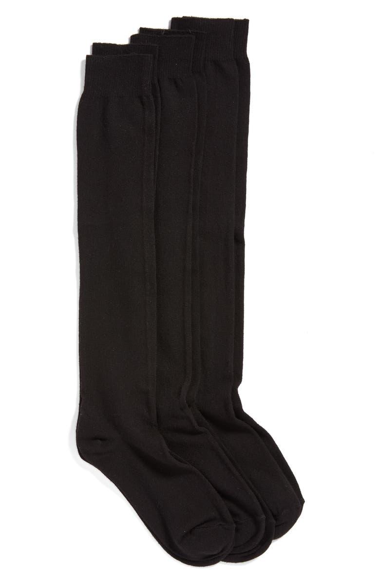 HUE 3-Pack Flat Knit Knee Socks, Main, color, BLACK