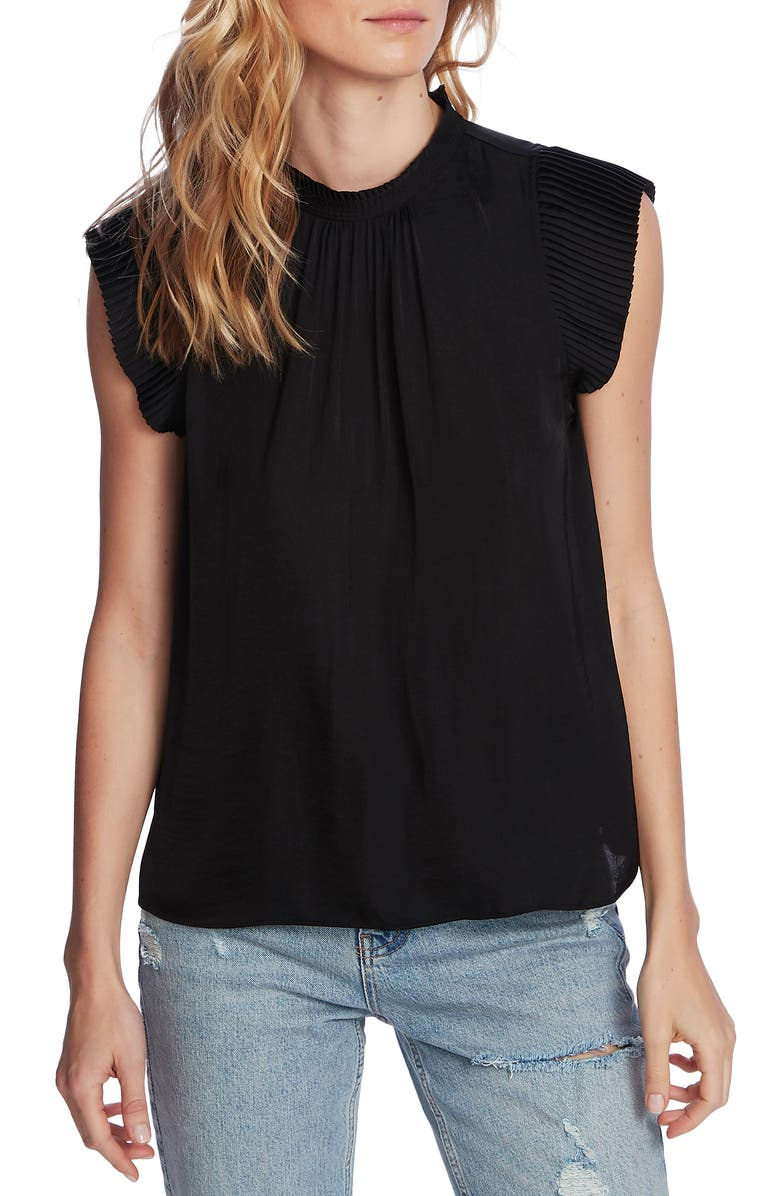 1.STATE Pleated Sleeve Top, Main, color, RICH BLACK