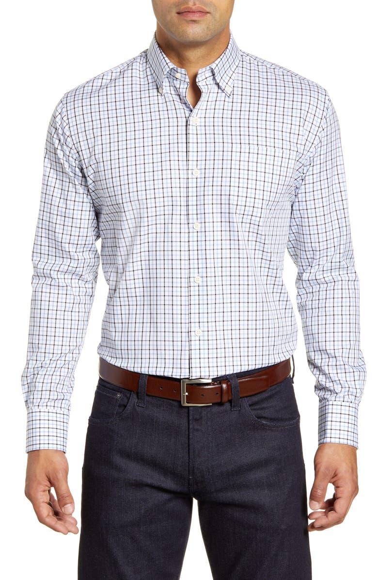 PETER MILLAR Bern Tattersall Button-Down Twill Shirt, Main, color, TAHOE BLUE