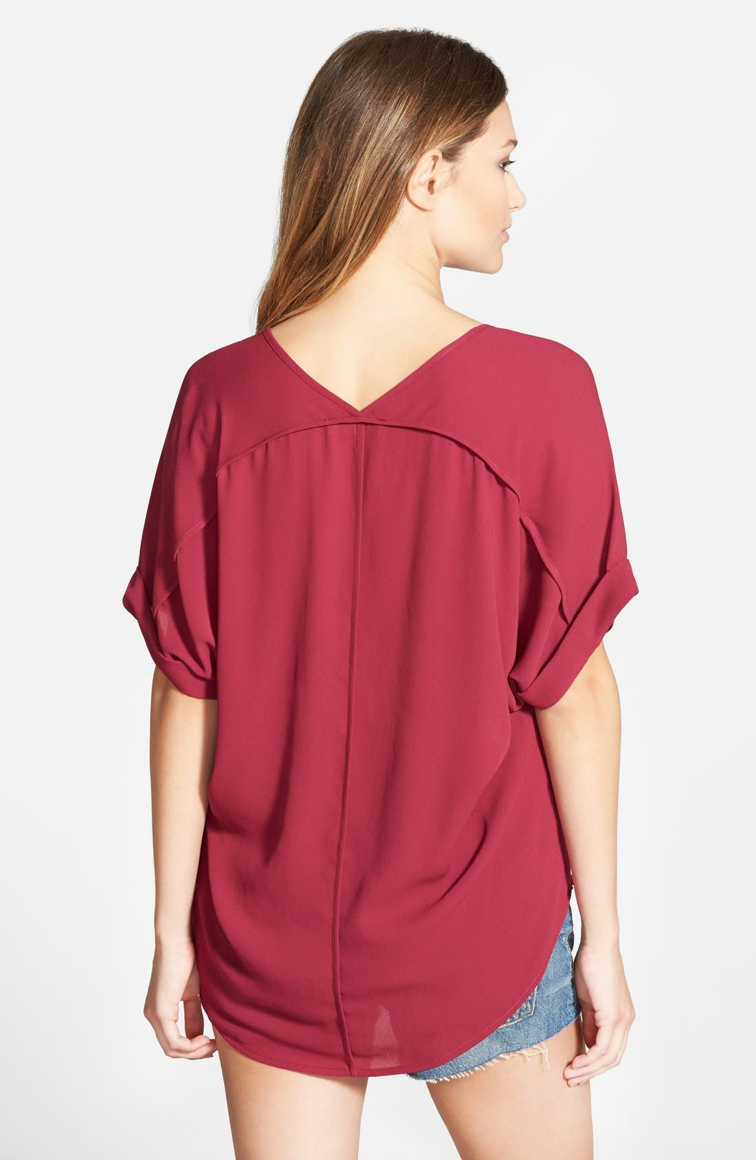 ,                             Lush Cuff Sleeve Woven Tee,                             Alternate thumbnail 137, color,                             503