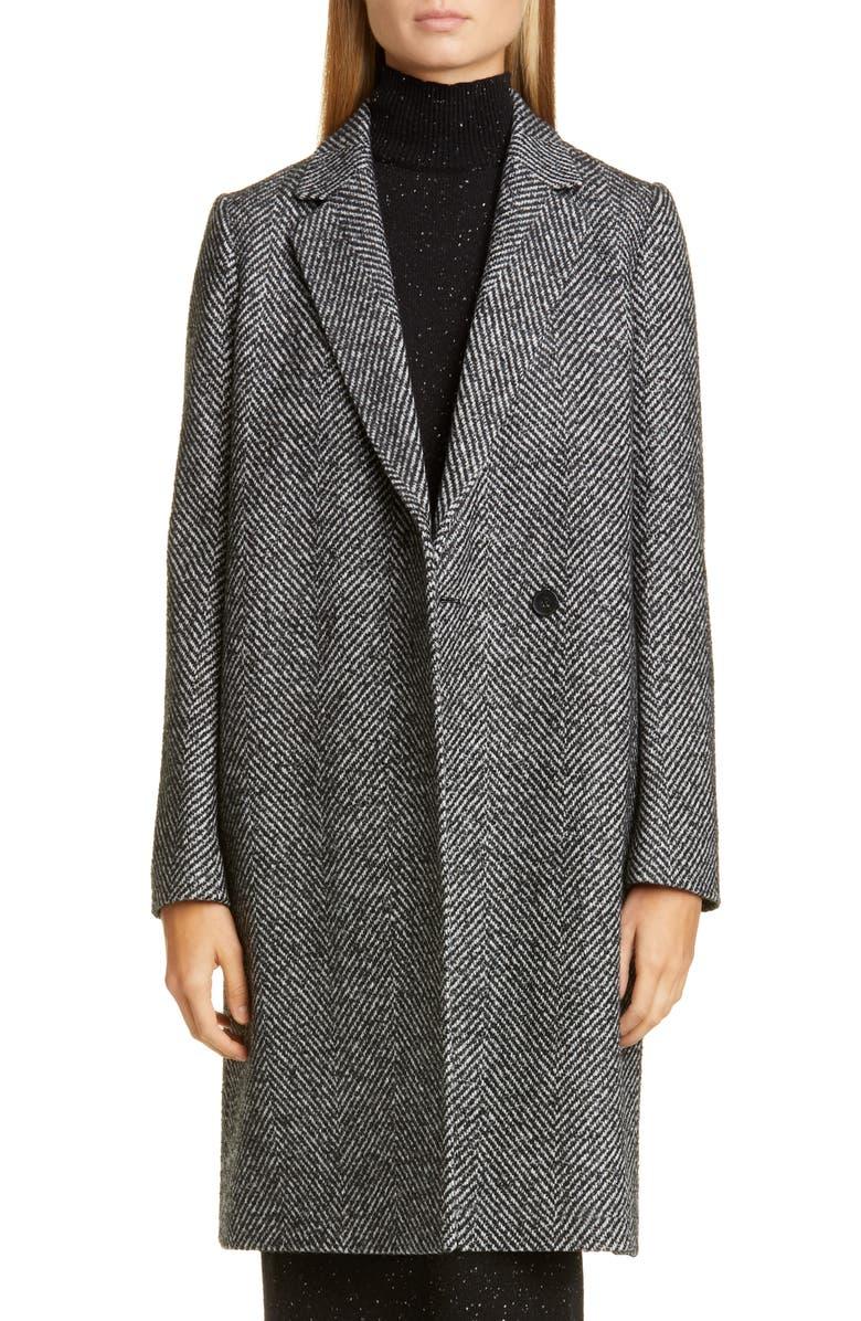 LAFAYETTE 148 NEW YORK Emmalyse Wool Blend Coat, Main, color, BLACK MULTI