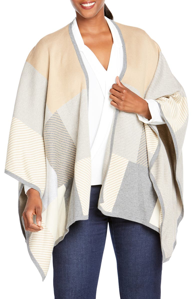 FOXCROFT Walker Patchwork Poncho, Main, color, ALMOND TART