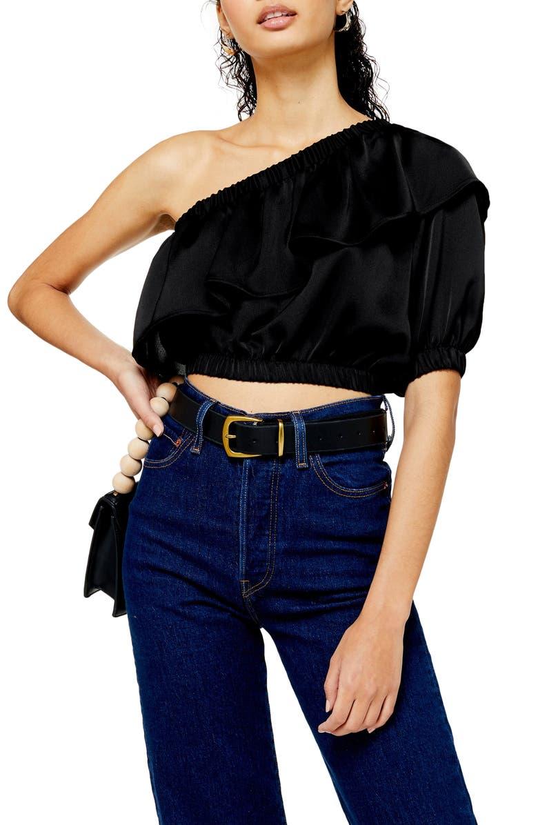 TOPSHOP One-Shoulder Ruffle Satin Blouse, Main, color, BLACK