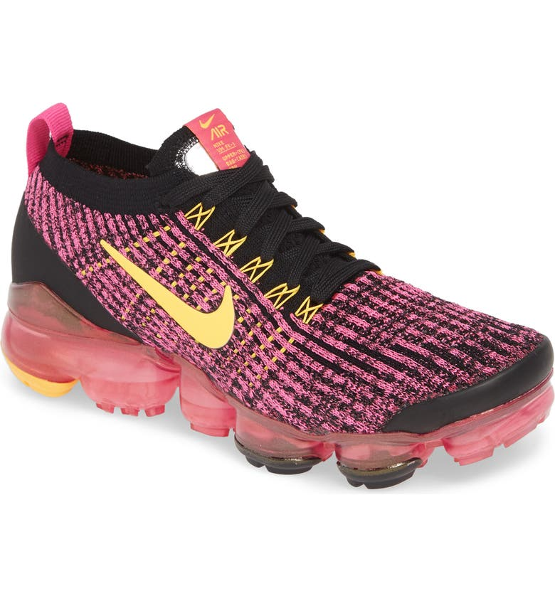NIKE Air VaporMax Flyknit 3 Sneaker, Main, color, LASER FUCHSIA/ ORANGE/ BLACK