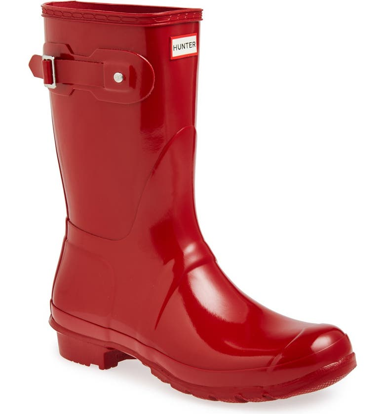 HUNTER Original Short Gloss Waterproof Rain Boot, Main, color, MILITARY RED GLOSS