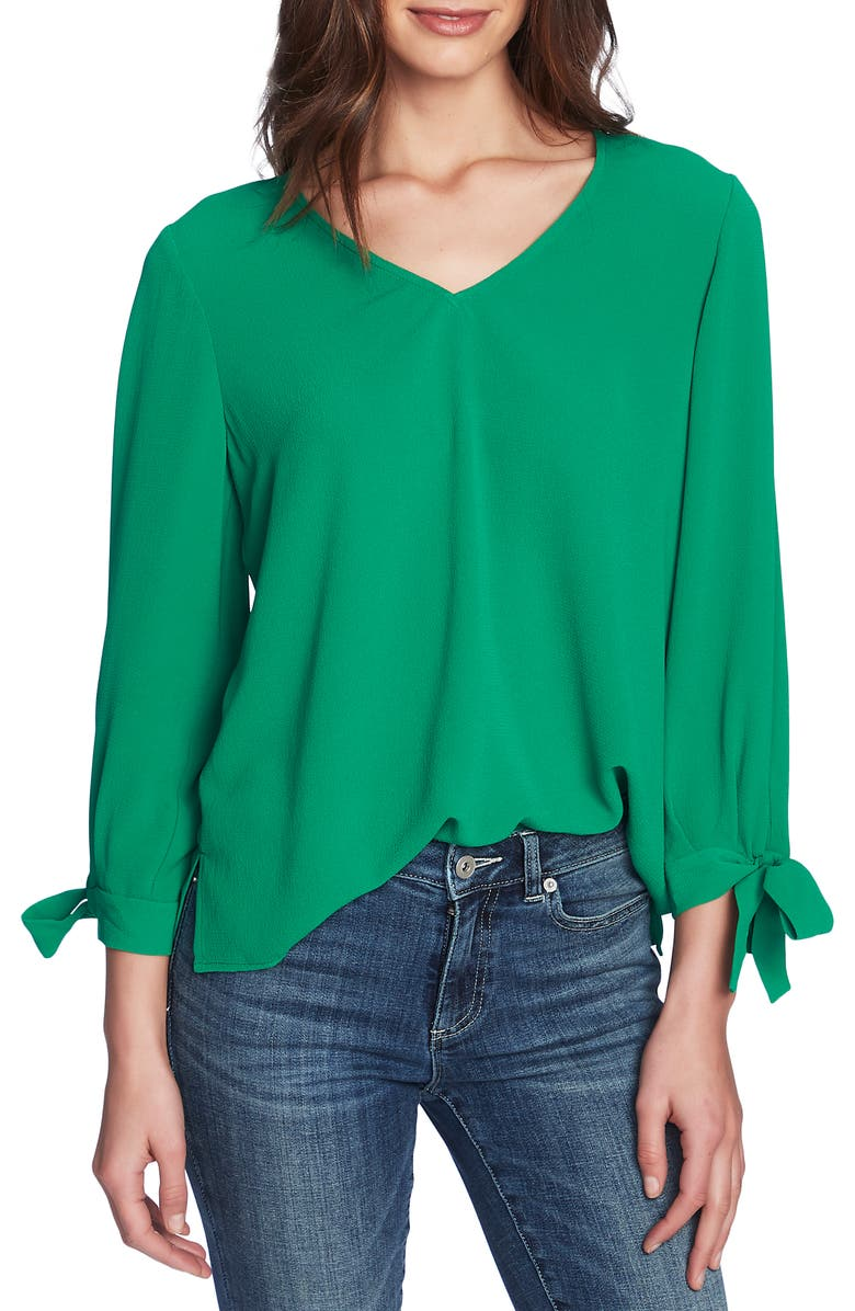 CECE Tie Sleeve Top, Main, color, LUSH GREEN