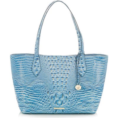 Brahmin Athen Croc-Embossed Leather Tote - Blue