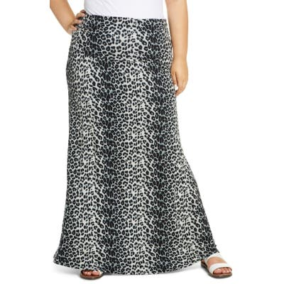 Plus Size Loveappella Leopard Print Fold Over Maxi Skirt, Grey