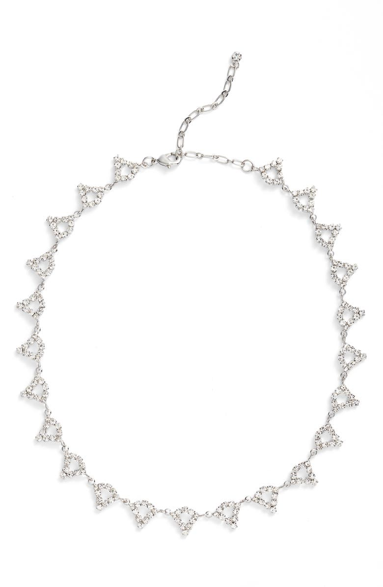CRISTABELLE Open Teardrop Station Necklace, Main, color, CRYSTAL
