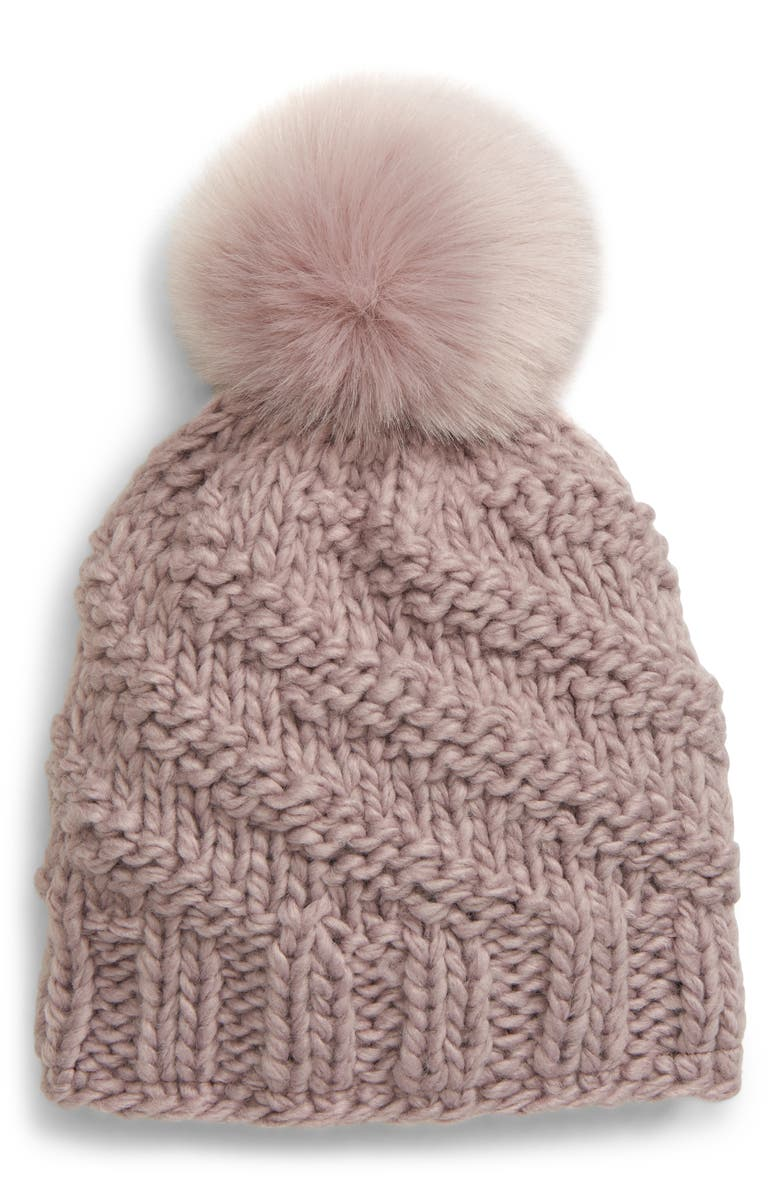 FREE PEOPLE Happy Trails Pompom Beanie, Main, color, DOVE