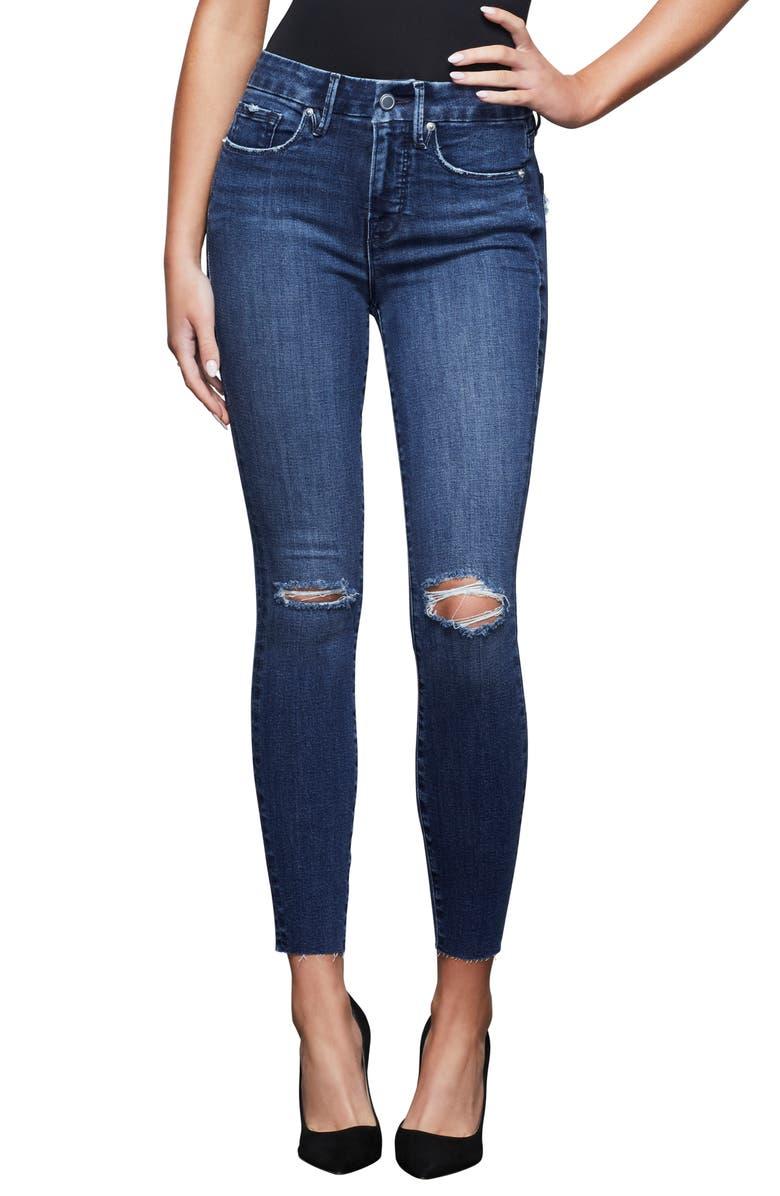 GOOD AMERICAN Good Legs High Waist Raw Edge Ankle Skinny Jeans, Main, color, 401