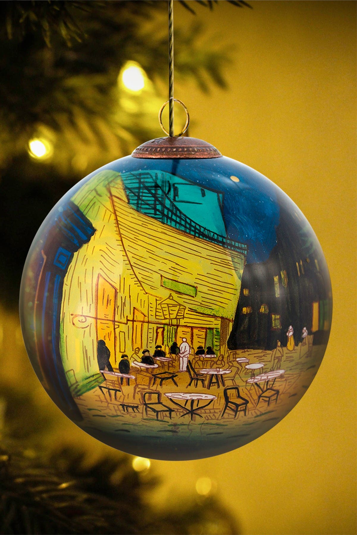 """Image of Overstock Art """"Cafe Terrace at Night"""" Vincent Van Gogh Hand Painted Glass Ornament Collection - Set of 3"""