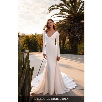 Pronovias Bianca Embellished Inset Long Sleeve Crepe Trumpet Wedding Dress, Size IN STORE ONLY - Ivory