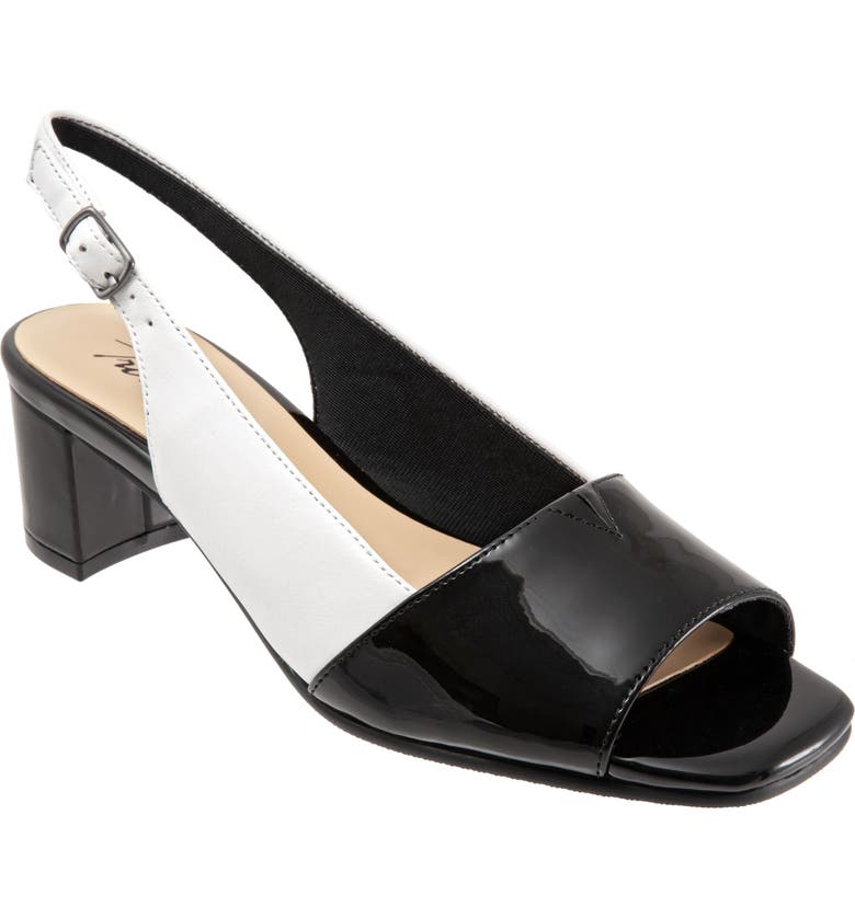 TROTTERS Monique Sandal, Main, color, WHITE/ BLACK LEATHER